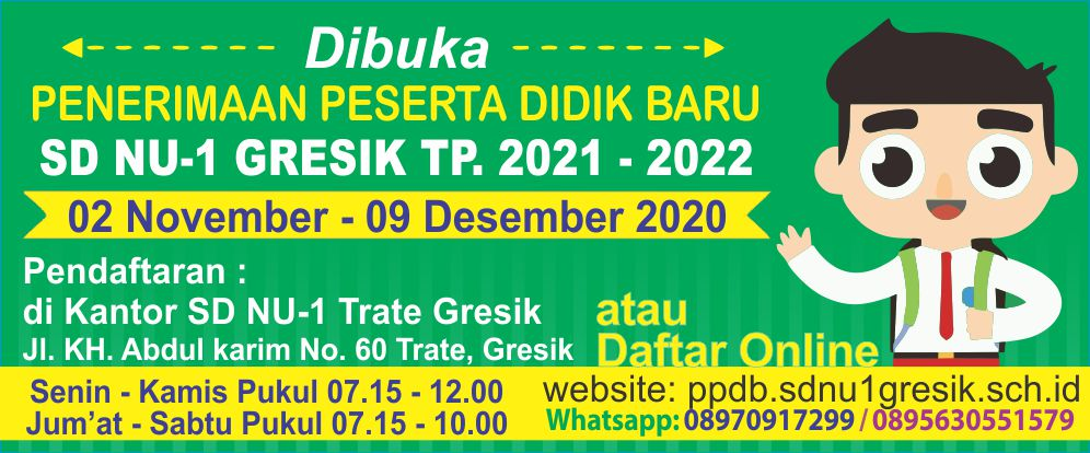 PPDB SD NU-1 Trate Gresik TP.2021-2022